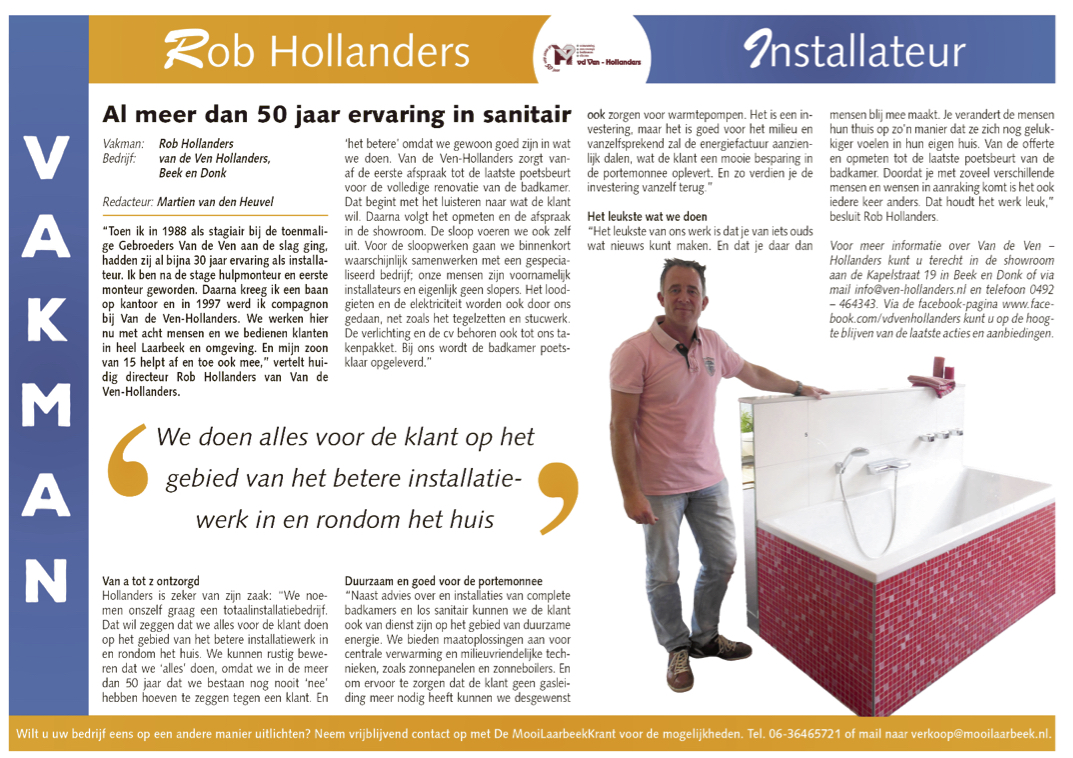 Artikel Rob Hollanders